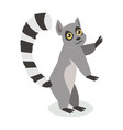 cute lemur cartoon icon in flat design vector image vector image
