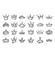 doodle crowns line art king or queen crown sketch vector image vector image
