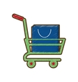 drawing shopping cart online bag gift vector image vector image