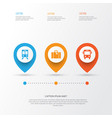 exploration icons set collection of transport vector image vector image