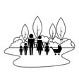 family silhouette and baby cart in landscape vector image