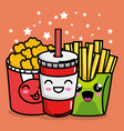 french fries and nugets with soda kawaii character vector image vector image