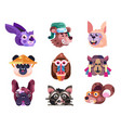 funny animal heads and faces icons in flat vector image