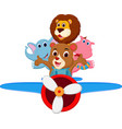 funny cartoon animals riding a plane vector image vector image