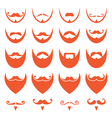 Ginger beard with moustache or mustache icons vector image vector image