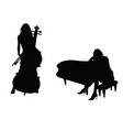 girl figure silhouette with music instrument set vector image vector image