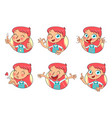 girl in different situations funny grimace vector image
