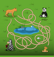 help the lioness to find baby in the maze vector image