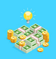 isometric concept of crowdfunding vector image
