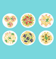 italian pasta and spaghetti meals set vector image vector image