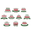 Italian premium pizza banners and labels vector image
