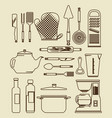 kitchen utensils vintage icon set vector image