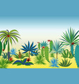 landscape with different tropical plants and trees vector image vector image