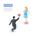 marriage proposal concept with kneeling man and a vector image
