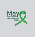 mental health awareness week observed on annual vector image vector image