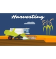 Modern combine harvester working a rice field vector image