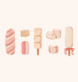 pink and white marshmallow set winter sweets vector image vector image
