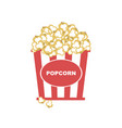 popcorn in box with red strips icon vector image