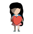 Pretty girl with heart in the hand and casual wear vector image