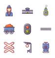 railway work icons set flat style vector image vector image