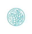 round bio emblem in a circle linear style plant vector image vector image