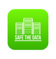 safe the data icon green vector image vector image