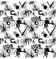 seamless pattern of tropical birds palms flowers vector image vector image