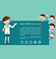 smart doctor woman and cute family background vector image vector image