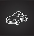 taxi cab thin line on black background vector image