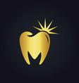 tooth dental shine abstract gold logo vector image