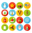Winter Christmas Flat Icons vector image vector image