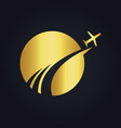 travel globe abstract plane gold logo vector image
