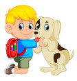 a boy with backpack bag hugging his dog vector image vector image