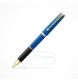 Blue metal ball point pen isolated on white