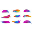 bright gradient paint brush strokes set vector image