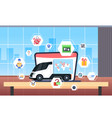 cargo van or truck with world map location geo vector image vector image