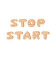 cartoon ginger bread cookies word stop start hand vector image vector image