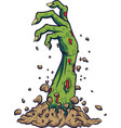 cartoon zombie hand out of the ground vector image vector image
