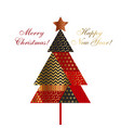 christmas tree in patchwork style vector image