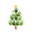 christmas tree of handprints with yellow star vector image vector image