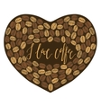 dark cofee heart with lettering inside vector image vector image