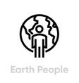 earth people globe planet editable line vector image vector image