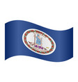 flag of virginia waving on white background vector image vector image