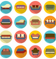 Flat Design Sofa Icons vector image vector image