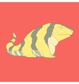 Flat hand drawn icon of a cute golden tegu vector image