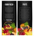 fresh organic fruit flyers set vector image vector image