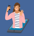 girl has a video conference on mobile phone vector image vector image