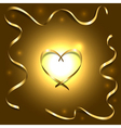 Gold silk heart with frame ribbons shiny light vector image