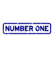 grunge blue number one wording square rubber seal vector image