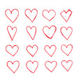 hand drawn hearts icon vector image